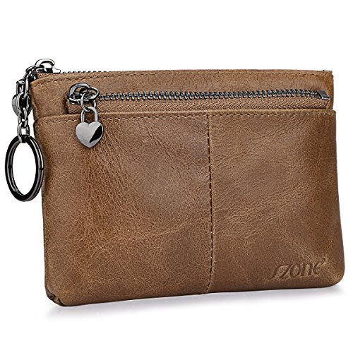 S-ZONE Women's Genuine Leather Mini Wallet Change Coin Purse Card Holder with Key Ring (Vintage Light Brown)