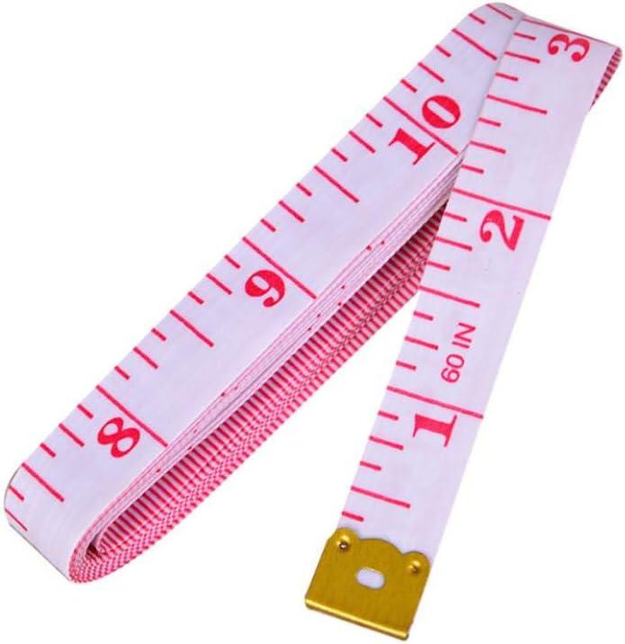 흰색 배경과 분홍색 문자 부드러운 눈금자와 바디 - CM 및 인치 플라스틱 테이프에 대한 측정 테이프 가슴을 측정하는 데 사용 허리 둘레 높이 - 1M   40IN