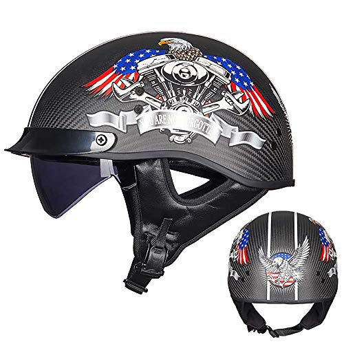 Harley Motorcycle Helmet Open Face Motorcycle Half Helmet Fiber Carbon Shell/Top Design/Suitable for Motorcycles/Scooters/ATV/Motorcycle Riders and Cyclists