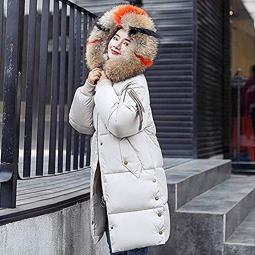 Color Impermeable Faux Casual Caliente Parka Invierno Capucha Chaqueta Blanco Outwear De Con Modernas Sólido Abrigo Gruesa Damas Hood Larga Winter Piel aOnq4q6