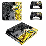 Cosines PS4 Slim Stickers Vinyl Decal Protective Console Skins Cover for Sony Playstation 4 Slim and 2 Controllers Dragon Ball Z Legendary Super Saiyan Goku 3 Anime