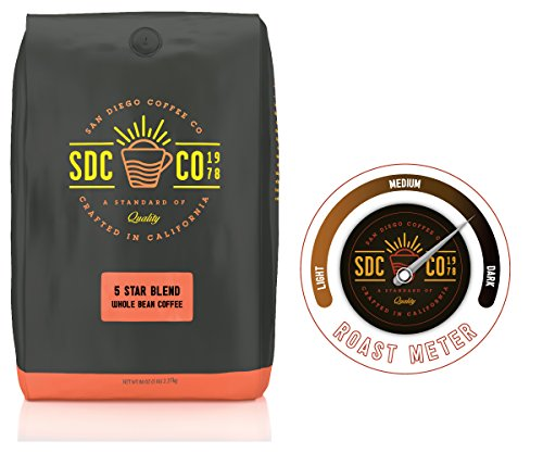 San Diego Coffee 5 Star Blend, Dark Roast, Whole Bean, 5-Pound - Diego San Horton