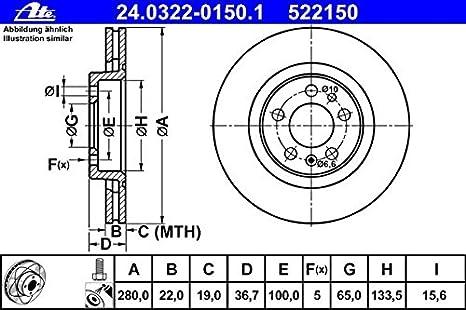 CERAMIC VORNE NUR f/ür PR-Nummer 1ZF,1ZM ATE BREMSSCHEIBEN /Ø280mm