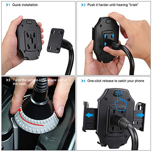 MOTOBA Gooseneck Cup Holder Phone Mount, Adjustable Car Phone Cup Holder for iPhone 11 Pro/XR/XS Max/X/8/7 Plus/6s/Samsung S10+/Note 9/S8 Plus/S7 Edge (Gray)