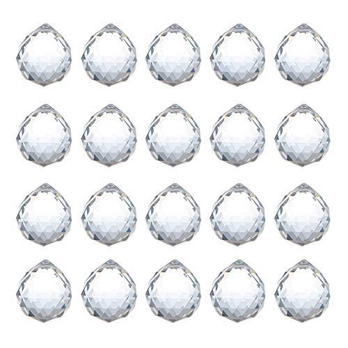 ADWIKOSO Crystal Ball Prism Pendant Glass Chandelier Hanging Pendant Feng Shui Suncatcher Wedding Home Window Décor (30mm-20pack) (Glass Home Balls Decor)