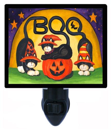 Halloween Night Light - Boo - Cats and Pumpkin - LED NIGHT LIGHT ()