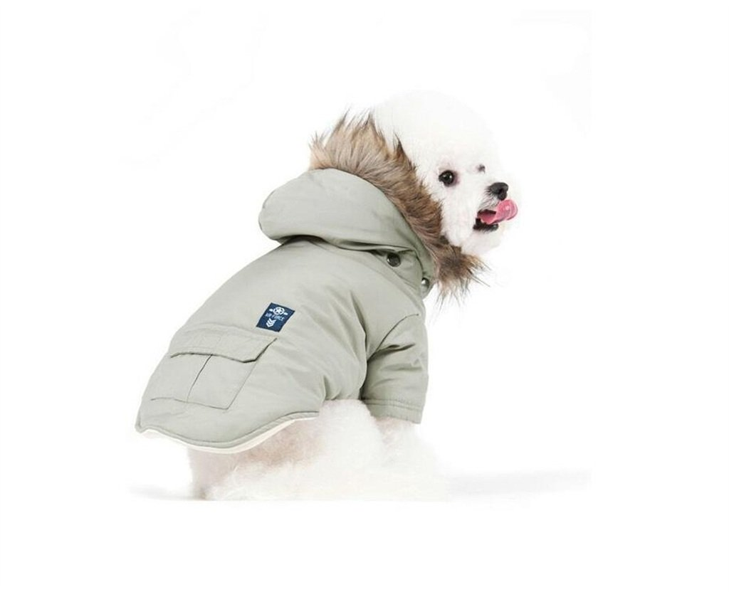 PetBoBo Cat Dog Doggie Down Jacket Hoodie Coat Pet Clothes Warm Clothing for Small Dogs Winter Beige M by PetBoBo