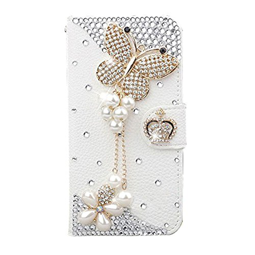 Black Lemon iPhone 6s Wallet Case, Handmade Luxury 3D Bling Crystal Rhinestone Leather Purse Flip Card Pouch Stand Cover Case for iPhone 6 6s 4.7 Inch (Crown Butterfly)