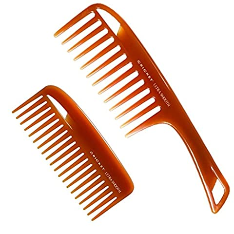 Cricket Ultra Smooth Comb Bundle with Conditioning Rake and Detangler Combs - Infused with Argan and Olive - Rake Detangler Comb