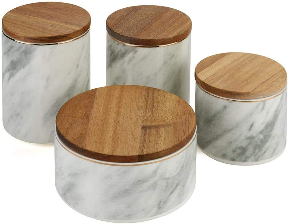 Ceramic Marble Pattern Food Storage Jar with Airtight Seal Bamboo Lid, Ceramic Kitchen Canisters Food Storage Canister for Tea, Coffee Bean, Spice, Sugar (4 pcs/lot)