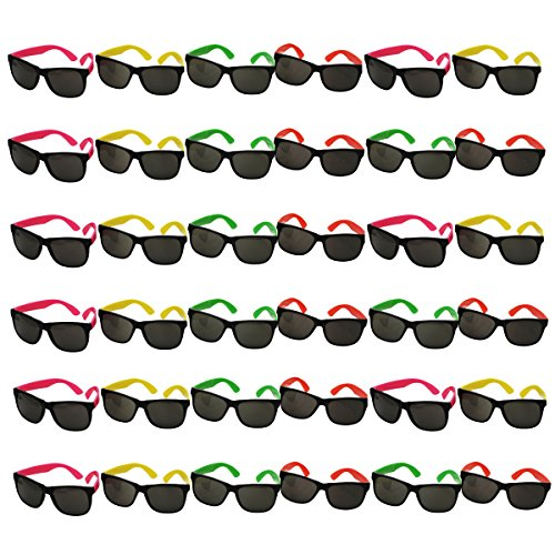 Bulk Lot of Neon Sunglasses- 36 Pair by Funny Party - Plastic Glasses Sun
