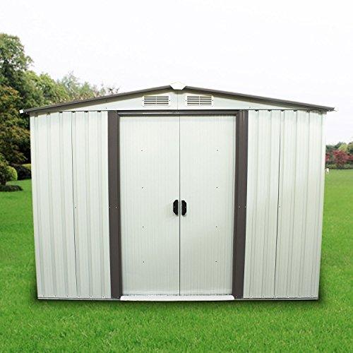 Wonlink Heavy Duty Outdoor Steel Garden Storage Utility Shed Backyard Lawn Building Garage, White, Warm Gray (8 by 6-Feet)