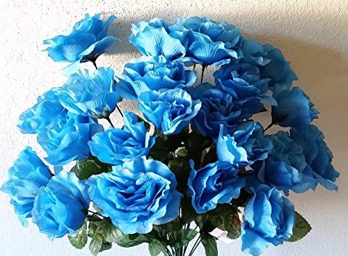 bridalweddingbouquets Turquoise Malibu Blue Large Rose Flower Bush