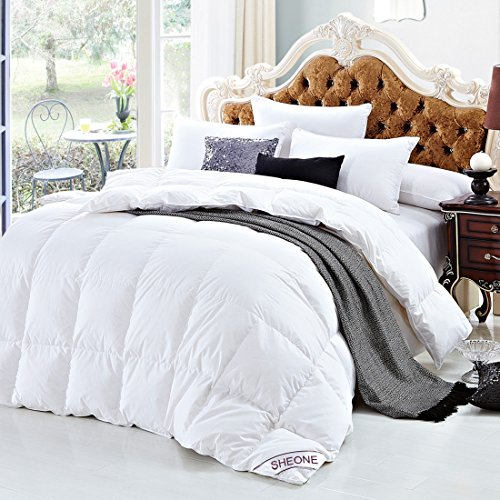White Goose Down Comforter Full/Queen Size 600 Thread Count 100% Cotton 750+ fill power Shell Down Proof-Solid White Hypo-allergenic with Corner Tab by SHEONE