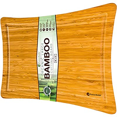 "Extra Large Bamboo Cutting Board with Beautiful Curved Edges and Juice Drip Groove (18x12"") Made from Natural and Eco-friendly Bamboo Wood. Large, Thick, and Strong Chopping Board By Premium Bamboo"