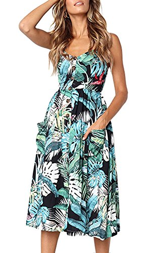 Sundresses Button Rainlover with Strap Pockets Z Women's 0822green Down Bohemian Midi Swing Floral Spaghetti qXwFrAXz