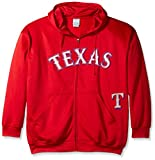 MLB Texas Rangers Men's Full Zip Poly Fleece with Wordmark Chest with Logo Near Pocket, 2X/Tall, Red