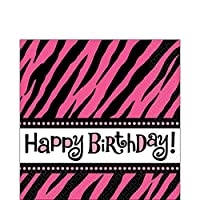 """Another Year of Fabulous Adult Birthday Party Zebra Print Luncheon Napkins , Pack of 16, Pink/Black , 6""""x6"""" Paper"""