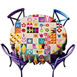 Dabuniu Fashions Table Cloth,Retro Style Fun Pattern with Notebook Paper Background,High-end Durable Creative Home,43 INCH