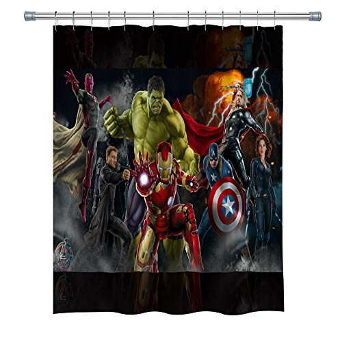 Movie Character Shower Curtain, The Avengers, Mildew-Resistant Polyester Fabric Bathroom Decor Set with Hooks, 71×71 Inches, Black Red Green