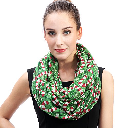 Lina & Lily Candy Cane Print Infinity Loop Women's Scarf Christmas Gift Lightweight (Green/Red/White-L -