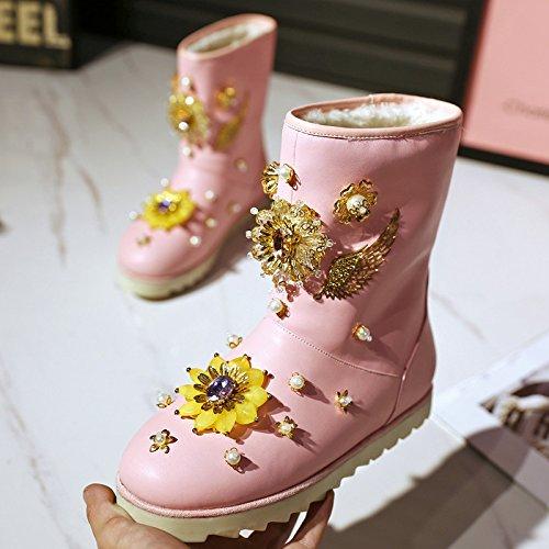 Neve Neve Calda Stivali 34 Pecora di PINK da di Lana Lana Lana Stivali Stivali XIE di di Fascia Piatti Cotone di Diamanti Alta 39 47pCwnq1