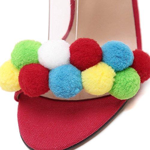 Damen Peep Toe Pumps Stiletto Sling Sandale mit Riemchen Mit Regenbogenball Rote