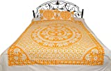 White Bedsheet from Pilkhuwa with Printed Chakravhuh of Elephants - Pure Cotton with Pillow Covers - Color Saffron Color