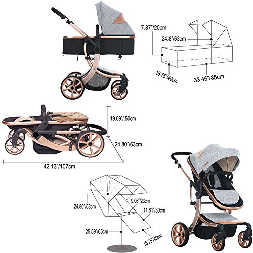 AIMILE Newborn Baby Pram Infant Foldable Anti-shock High View Jogger Stroller Multi-Positon Reclining Seat Stroller Pushchair(Grey) by OLizee (Image #6)
