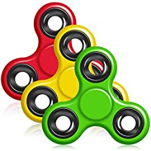Hand Fidget Spinner, YuCool 3 Pack Tri-Spinner EDC Finger Fidget Toy Stress Reducer Rotate for 1+Mins (A set of Red, Yellow, Green)