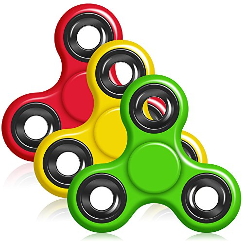 Hand Fidget Spinner, YuCool 3 Packs Tri-Spinner EDC Finger Fidget Toy Stress Reducer Rotate for 1.5+mins - Red, Yellow, Green Christmas List Designs