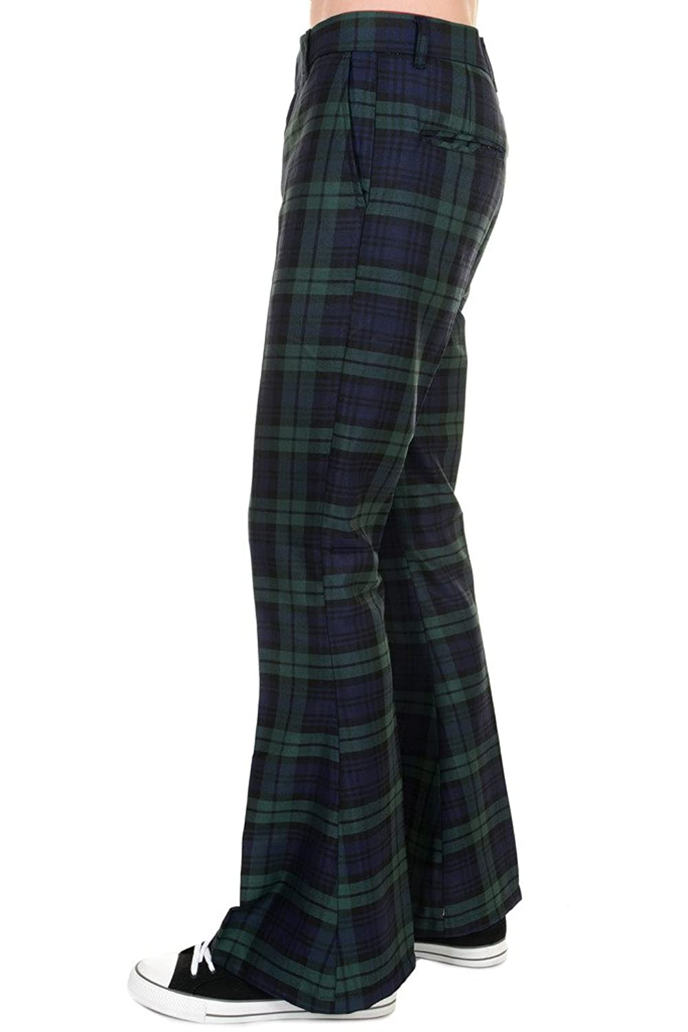 1960s Style Men's Clothing, 70s Men's Fashion Mens Run & Fly 60s 70s Vintage Blackwatch Tartan Plaid Bell Bottom Trousers $47.95 AT vintagedancer.com