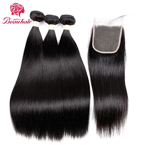 Brazilian Hair 7A Virgin Human Hair 3 Bundles With (4x 4) Lace Closure Straight Wave Weft 100% Unprocessed Real Human Hair Extensions Natural Color (18 20 22+18