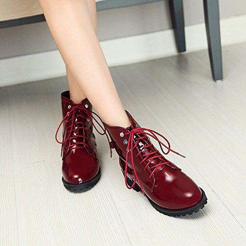 Carolbar Womens Lace Up Bows Stivali Chukka In Pelle Verniciata Rosso Vino