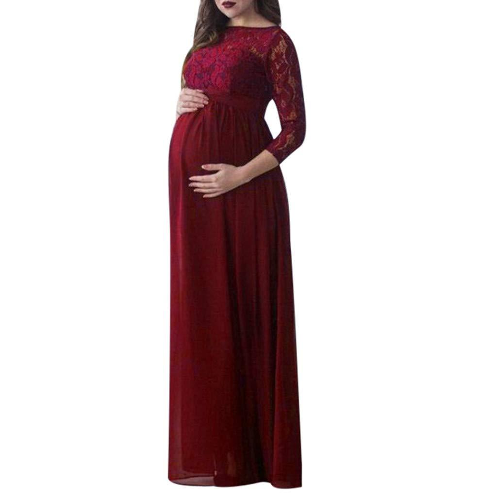 FRAUIT Vestito di maternit/à Pizzo Vestiti Premaman Donna Cerimonia Gravidanza Abbigliamento Fotografia Elegante Incinte Infermieristica Abito Lungo Maternity Dress Long