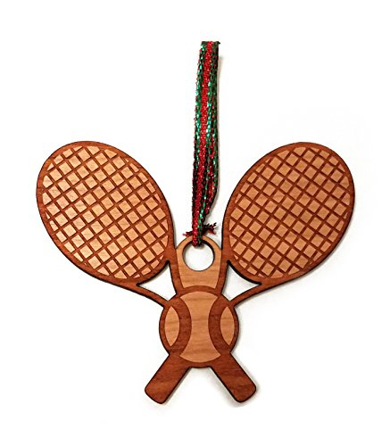 Tennis Racket and Ball Laser Engraved Wooden Christmas Tree Ornament Gift Seasonal (Tennis Racquet Decorations)