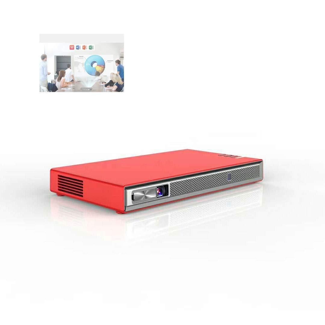 LiChenYao T5 Projector it Supports Mobile Phone with The Same Screen to Play Android 6.0 System. Connect to WiFi to Enjoy The Network Android 6.0 System 140 ANSI Lumens (Color : Red)