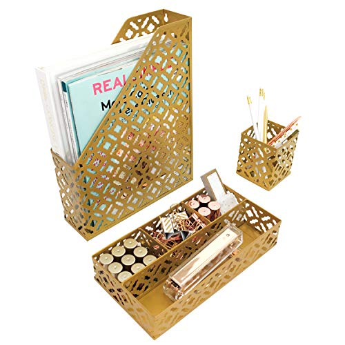 Blu Monaco Gold Desk Organizer for Women - 3 Piece Desk Accessories Set - Pen Cup, Magazine-File-Mail Holder, and Accessories Tray - Antique Gold Brass Finish Office Supplies Stationery Decor by Blu Monaco