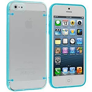 Accessory Planet(TM) Baby Blue Crystal Transparent Clear Hard Hybrid Case Cover for Apple iPhone 5 / 5S