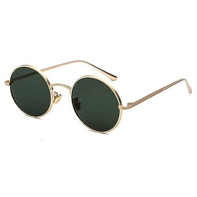 09319f003cc9d Inlefen Sonnenbrille Männer Frauen Runde Retro Vintage Kreis Stil  Sonnenbrille Farbige Metallrahmen Brillen Gold Dunkelgrün