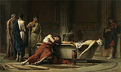 'Dominguez Sanchez Manuel After Cutting His Veins Seneca Gets Into The Bathtub While His Sorrowful Friends Swear Their H ' Oil Painting, 18 X 30 Inch / 46 X 76 Cm ,printed On High Quality Polyster Canvas ,this Beautiful Art Decorative Canvas Prints Is Per