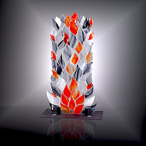 Accent Table Column (Column of Smoke and Fire Glass Flames Shelf Art Sculpture with Stand)
