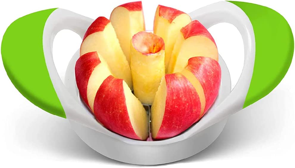 Apple Slicer with 8 Sharp Blades, Stainless Steel Apple Corer and Slicer, Sturdy Apple Cutter That Saves Time and Produces Uniform Wedges (Green)