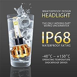 Auxbeam H1 LED headlight bulbs F-16 Series LED Headlights with 2 Pcs of Headlight Conversion Kits 60W 6000lm CREE LED Chips Fog Light (Pack of 2)
