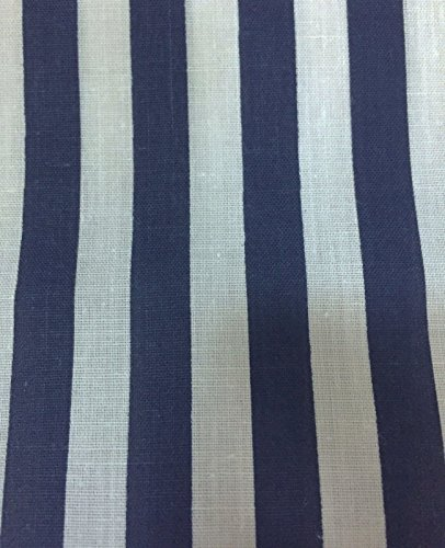Navy White Half Inch Striped Poly Cotton Fabric - Sold By The Yard - 58