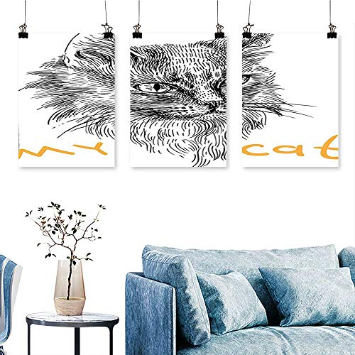 SCOCICI1588 3 Panel Canvas Wall ArtInk Sketch Hand Drawn Illustration Cute Cat Portrait Pattern Mustard Black and Print On Canvas No Frame 24 INCH X 35 INCH X 3PCS