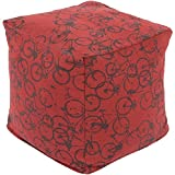 18'' Peddle Power Black and Dark Red Whimsical Square Pouf Ottoman