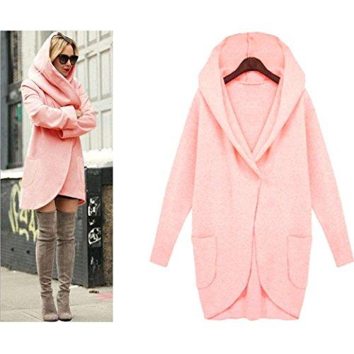 AMA(TM) Women Windbreaker Parka Outwear Slim Long Cardigan Jacket Coat (X-Large, Pink)