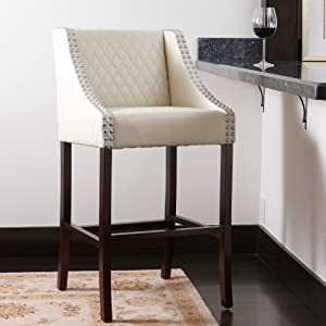 Filton Ivory White Quilted Leather 28  Counter Stool & Amazon.com: Filton Ivory White Quilted Leather 28