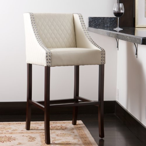 Filton Ivory White Quilted Leather 28'' Counter Stool by Great Deal Furniture